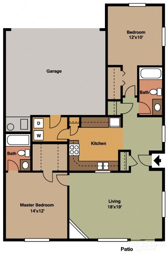 Floor Plan  2 Bed, 2 Bath Floor Plan at Shenandoah Properties, Lafayette, IN, 47905