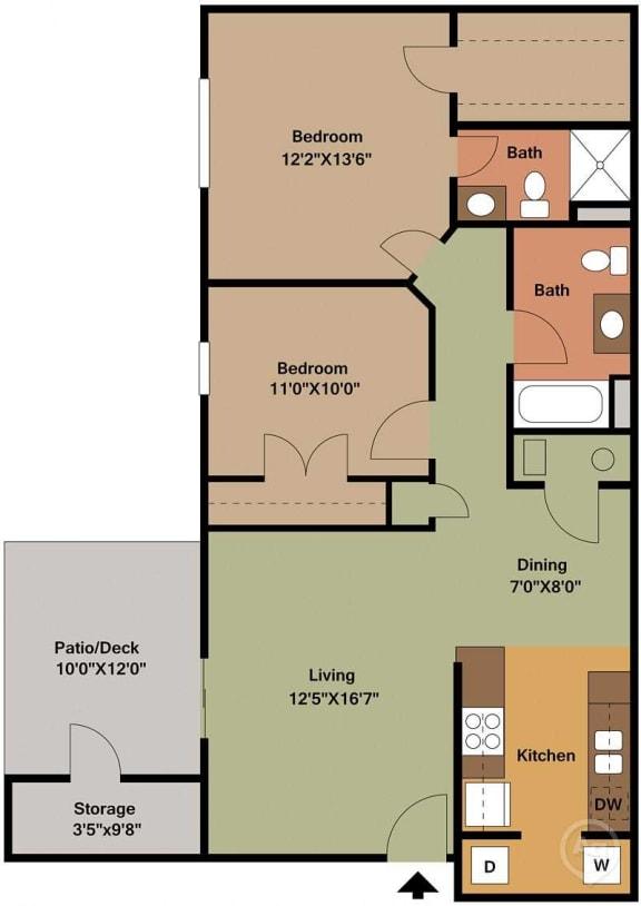 Floor Plan  2 Bed, 2 Bath Floor Plan at Shenandoah Properties, Indiana, 47905