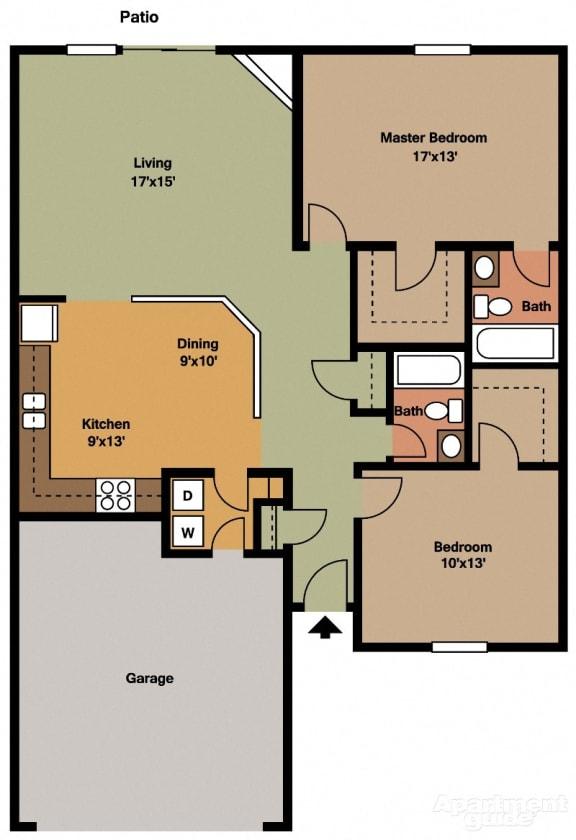 Floor Plan  2 Bed, 2 Bath Floor Plan at Shenandoah Properties, Lafayette