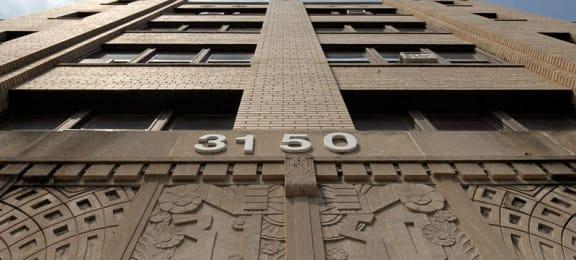 Exterior building facade close up