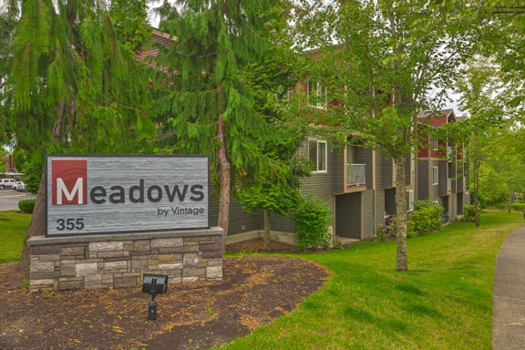 Monument sign at The Meadows by Vintage | Bellingham, WA 98226