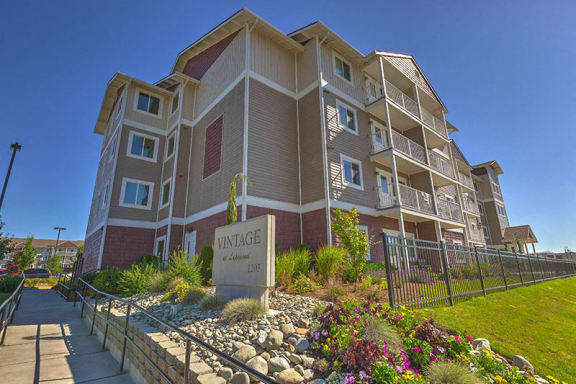 Building View with Sign Marysville, WA 98271 l Vintage at Lakewood Senior Apartments