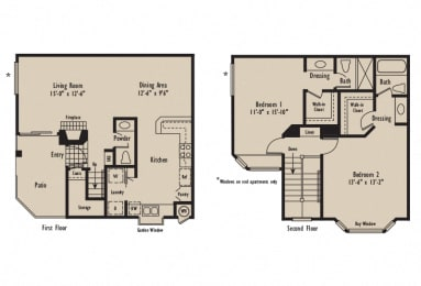 D - 2 Bedroom 2.5 Bath Floor Plan Layout - 1240 Square Feet