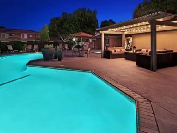 Refreshing pool at night at Mirabella Apartments, Bermuda Dunes, CA
