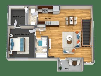 Amarone One Bed One Bath Floor Plan at The Brix Apartments, Spokane Valley, WA, 99037