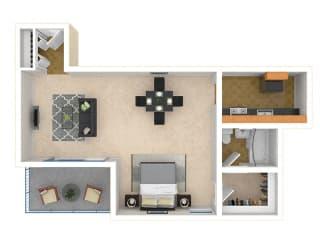 Steward Tower Apartments Studio floor plan