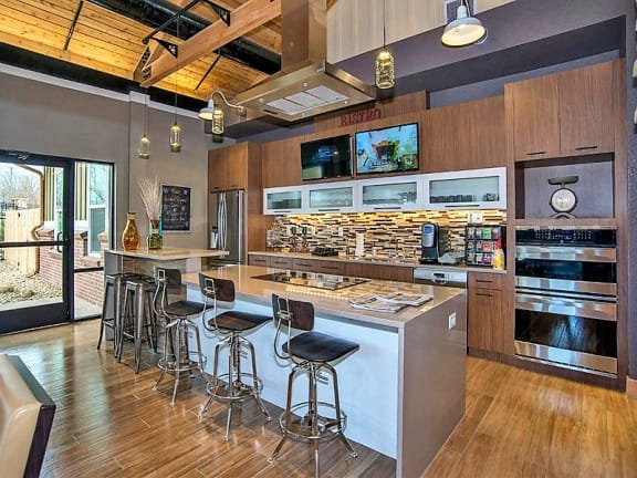 Longmont CO Apartments Near Me With Luxurious Resident Clubhouse Kitchen