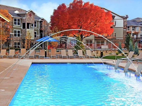Longmont Apartment Complex with Beautiful Swimming Pool and Relaxing Sundeck