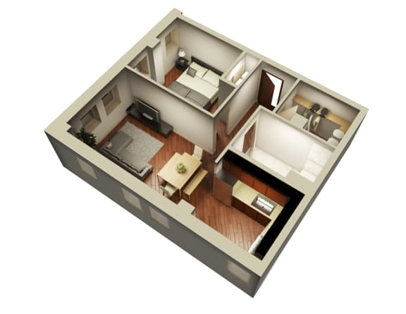 Floor Plan  669 Sqft 3D Floor Plan at Somerset Place Apartments, Chicago, IL
