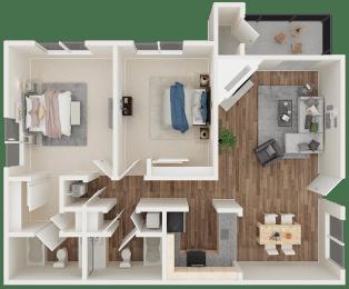 2 bedroom 2 bath 3D floor plan layout