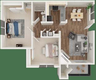 2 bedroom 1 bath 3D floor plan layout
