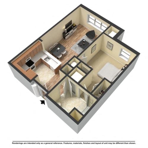 Floor Plan  one bedroom, one bathroom floor plan