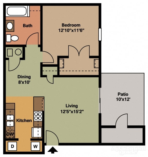 Floor Plan  1 Bed, 1 Bath Floor Plan at Shenandoah Properties, Indiana, 47905