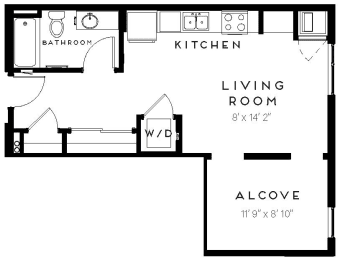 A3-Alcove 1 Bed 1 Bath Floor Plan at The Maven on Broadway, Minnesota, 55902