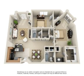 2G - 2 Bedroom 2 Bath Floor Plan Layout - 1160 Square Feet