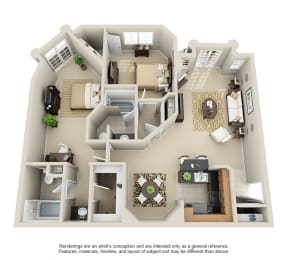 2H - 2 Bedroom 2 Bath Floor Plan Layout - 1180 Square Feet