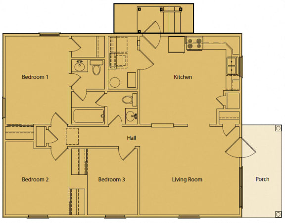 Floor Plan  3 bedroom 2 bath 2D floorplan-Oakland Heights Apartments Exterior, Kansas City, MO