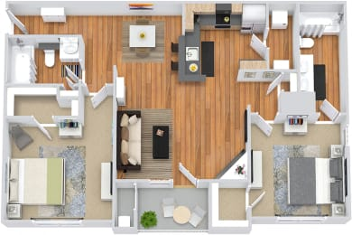 3D Madison 1 bedroom apartment. kitchen with bartop open to dining and living room. wood burning fireplace. 1 full bath. walk-in closet. in-unit laundry. Patio/balcony.
