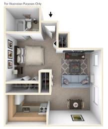 Studio Floorplan at Normandy Village Apartments, Michigan City, 46360