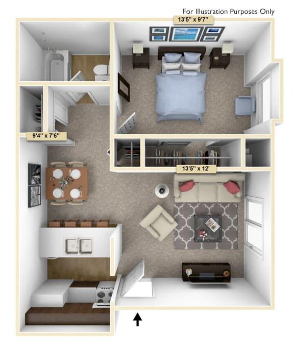 Floor Plan  One Bedroom Cedar Floor Plan at Thornridge Apartments, Grand Blanc, Michigan