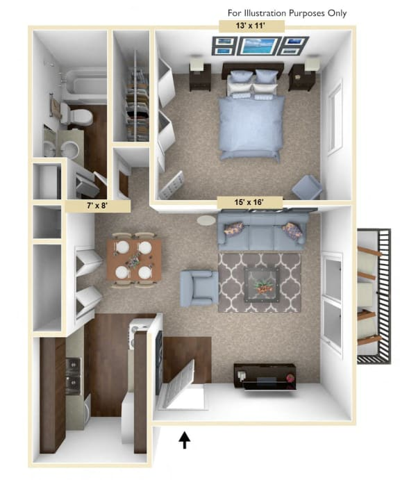 Floor Plan  Timberland 1 Bedroom with 1 Bath Floor Plan at Woodland Place, Midland, MI