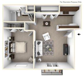 1 Bedroom 1 Bathroom Floor Plan at Sycamore Creek Apartments, Orion, MI, 48359