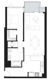 Hawthorne - 1 Bedroom 1 Bath Floor Plan Layout - 837 Square Feet