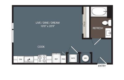 S1-Alt 1 Bedroom 1 Bath Floorplan at Encore at Boulevard One, Denver, CO, 80230