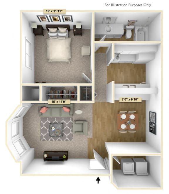 Floor Plan  One Bedroom Spruce Floor Plan at Thornridge Apartments, Grand Blanc, MI, 48439