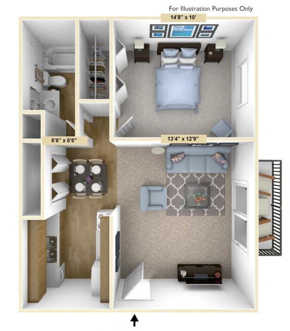 Floor Plan  Haven - 1 Bed 1 Bath Floor Plan at Woodland Place, Midland, Michigan