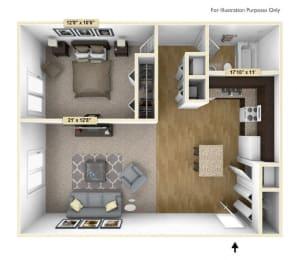 Regal - One Bedroom One Bath Floor Plan at Grand Bend Club, Michigan