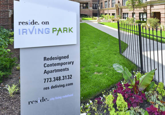 Reside on Irving Park Exterior SIgn