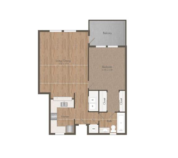 1 Bedroom 1 Bath Floorplan