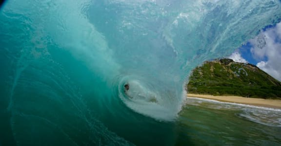Stock photo of inside of an ocean wave