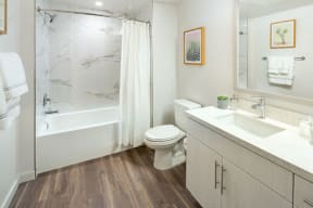 Bathroom with shower/tub and vanity