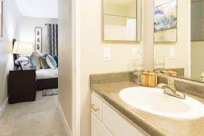 Bathroom with bedroom view  l Kirker Creek Apartments
