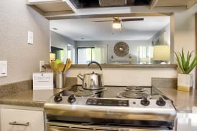 view of stove  l Kirker Creek Apartments