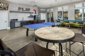 Clubroom kitchen and ping pong table