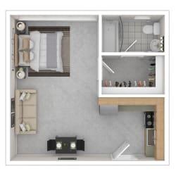 Capital Plaza Apartments Studio ST1 Floor Plan