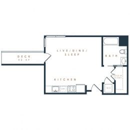 S1– 0 Bedroom 1 Bath Floor Plan Layout – 497 Square Feet
