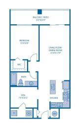 One Bedroom Floor Plan at Horizon at Miramar, Florida, 33025