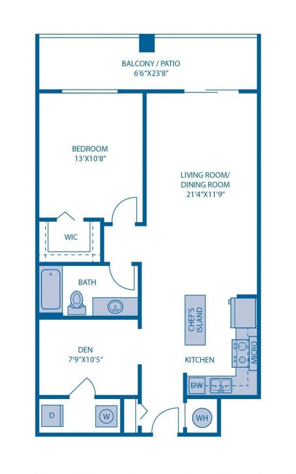 Floor Plan  One Bedroom Floor Plan at Horizon at Miramar, Florida, 33025