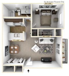 One Bedroom Cypress Floor Plan at Thornridge Apartments, Michigan