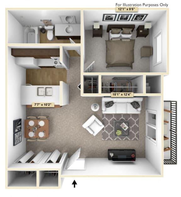 Floor Plan  One Bedroom Cypress Floor Plan at Thornridge Apartments, Michigan