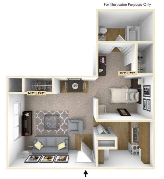 Floor Plan  Chestnut Oak Studio Floor Plan at Charter Oaks Apartments, Davison