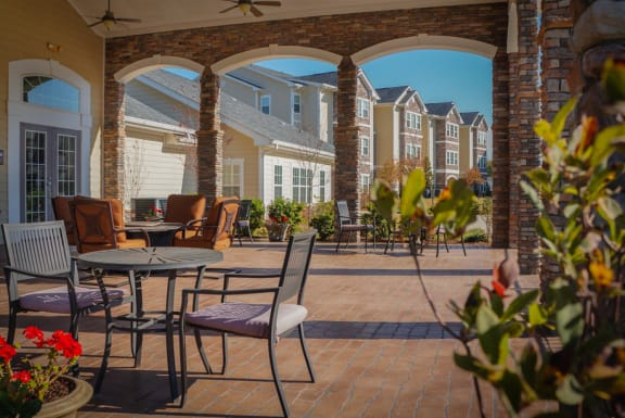 Exterior Patio Stone Gate Apartments in Spring Lake NC