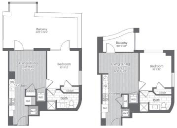 Floor Plan 1 Bed/1 Bath-A3