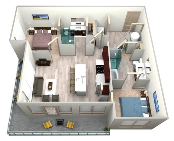 Floor Plan  Indigo Floor Plan at Azure Houston Apartments, Houston, Texas