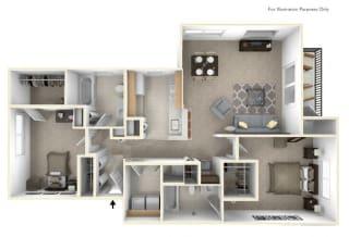 2-Bed/2-Bath, Passion Flower Floor Plan at Killian Lakes Apartments and Townhomes, South Carolina, 29203