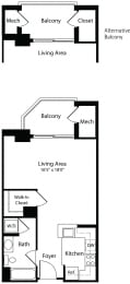 0x1b studio floor plan at Aura Pentagon City apartment in Arlington VA